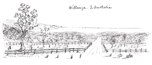 Willunga, 1850, sketch by Edward Snell.